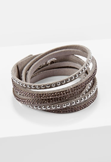 Wrap around crystal bracelet with studs in a stunning grey faux suede colour