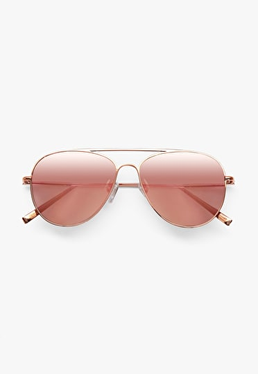 Retro rose tinted aviator sunglasses in rose gold