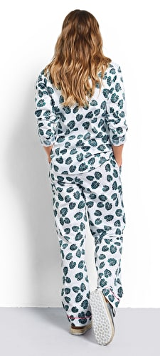 Monstera Leaf Piped Cotton Pyjamas
