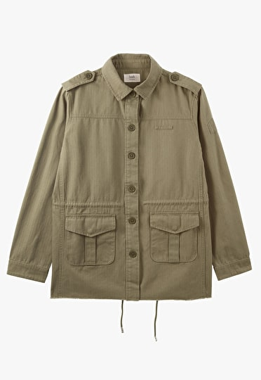 Long length embroidered khaki military jacket with a gold diamond embroidered on the back