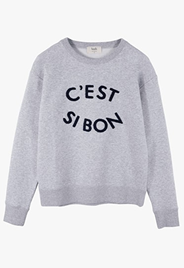 Crew neck sweat top with 'c'est si bon' motif embroidered in grey marl and midnight