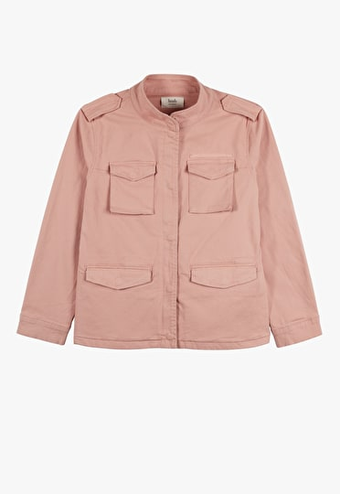Cool military style jacket in a cool mahogany rose with epaulette shoulder detailing