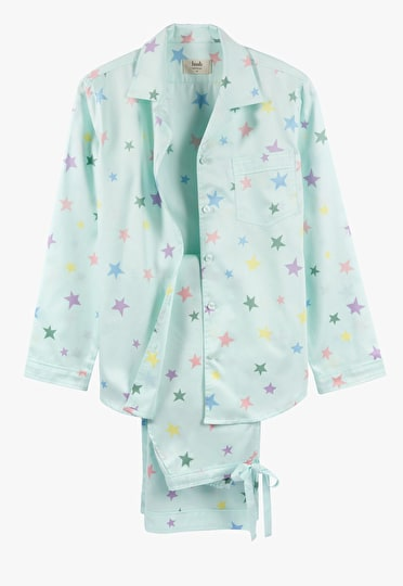 Mint Green pyjama set with multi coloured pastel stars