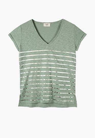V neck striped tee with rolled capped sleeves in granite green and metallic silver stripes