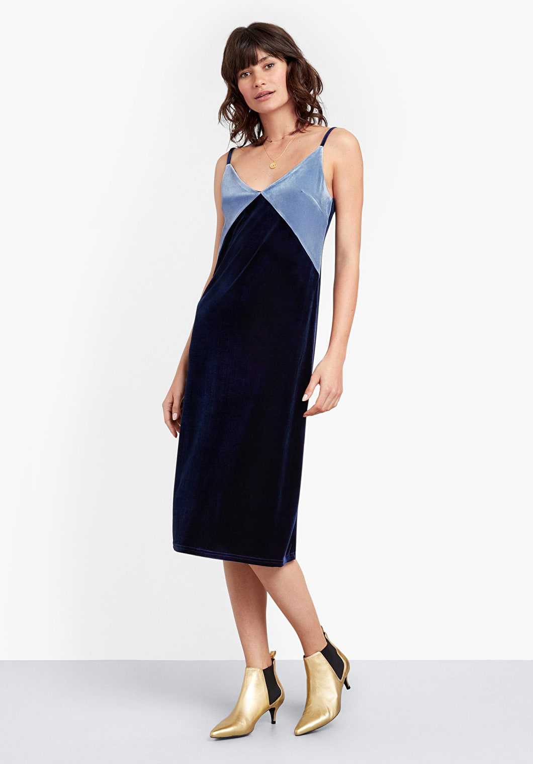 Velour Colourblock Slip Dress | hush