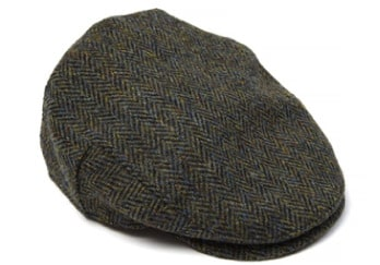 Dark Green Harris Tweed Flat Cap