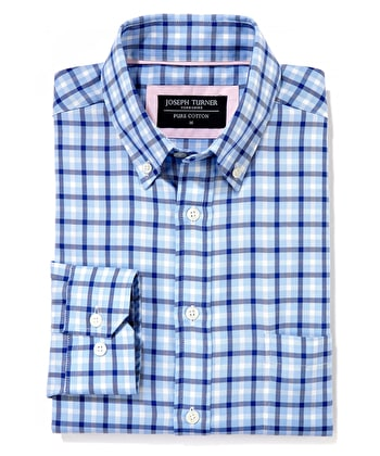 Button-Down Oxford Shirt - Blue/Navy Check