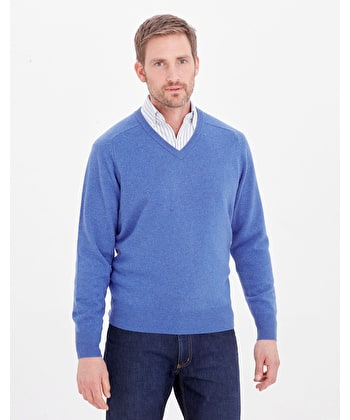 Lambswool Jumper - V Neck - Royal Blue