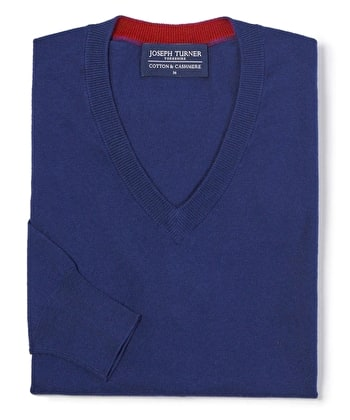 Cotton/Cashmere - V Neck - Dark Blue