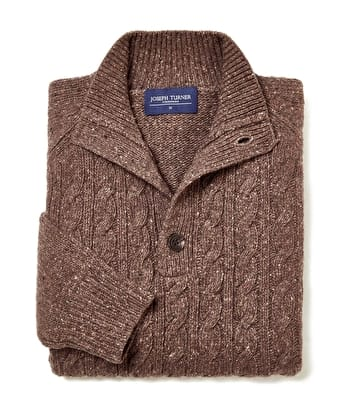 Donegal Cable - Button Neck - Brown