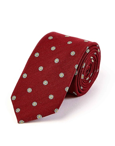 Yorkshire Rose on Burgundy - Wool/Silk Tie