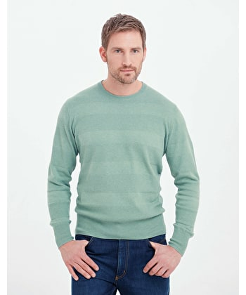 Cotton Textured Stripe Jumper - Crew Neck - Sage