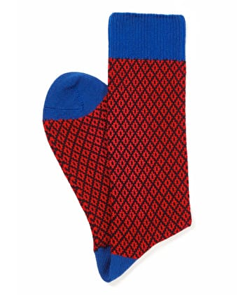 Diamond Knit Socks - Red/Blue