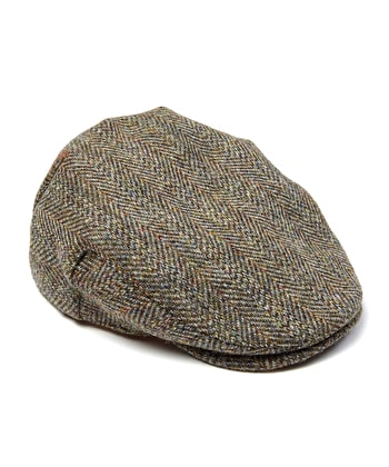 Flat Cap - Green Harris Tweed