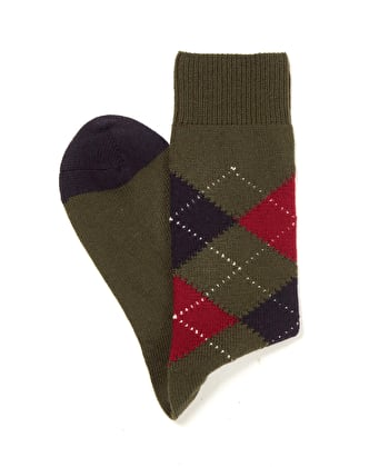 Argyle Socks - Olive/Navy/Red