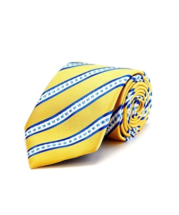 Yellow/Blue/White Stripe - Woven Silk Tie