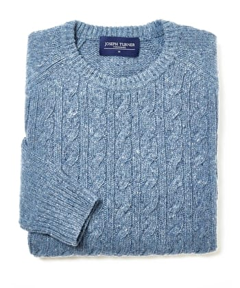 Donegal Cable - Crew Neck - Blue