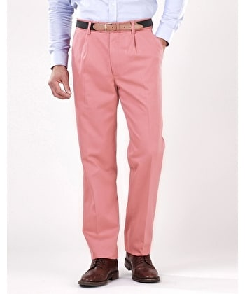 Pleated Front Chinos - Washed Red