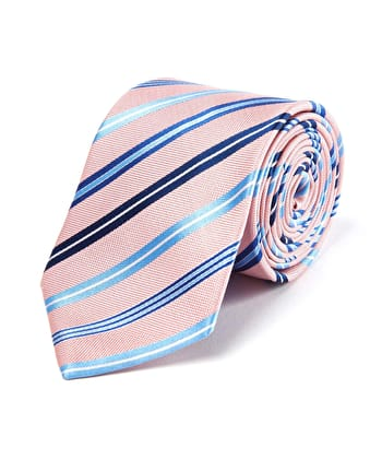 Pink/Blue Stripes - Woven Silk Tie