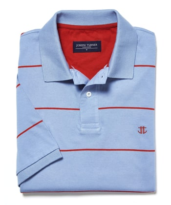 Striped Polo Shirt - Sky/Red