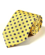 Flowers on Yellow - Printed Silk Tie