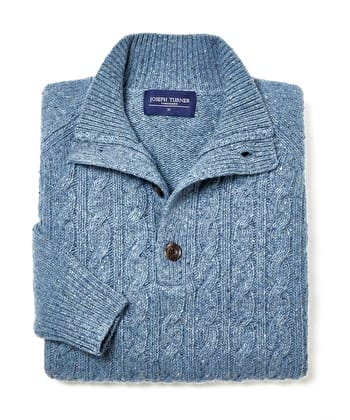 Donegal Cable - Button Neck - Blue