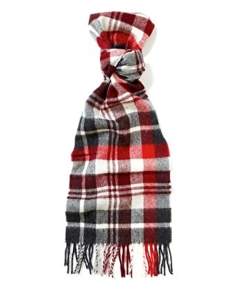 Lambswool Scarf - Grey/Red