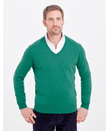 Cotton/Cashmere - V Neck - Green