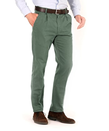 Pleated Front Chinos - Forest