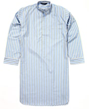 Nightshirt - Blue/Yellow Stripe - Fine Cotton