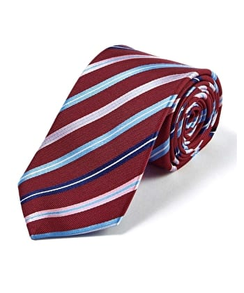 Burgundy/Blue/Pink Stripe - Woven Silk Tie