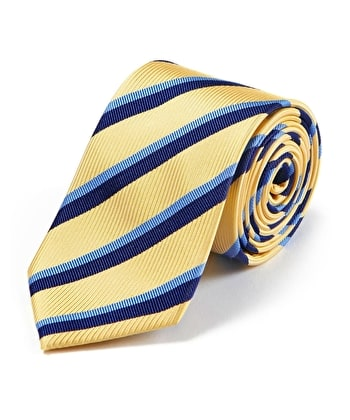 Blue Stripe on Yellow Woven Silk Tie