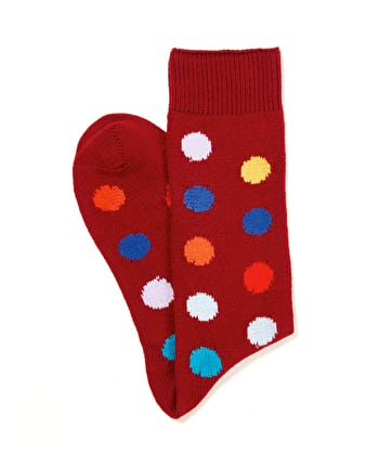 Spotty Cotton Socks - Dark Red