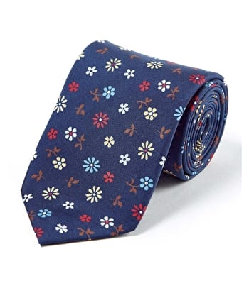 Flowers on Navy - Printed Silk Tie