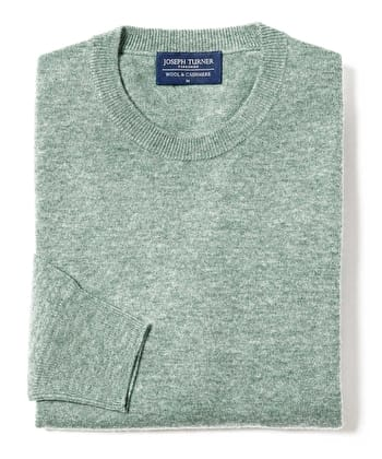 Wool/Cashmere Jumper - Crew Neck - Sage