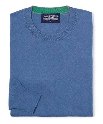Cotton/Cashmere - Crew Neck - Blue