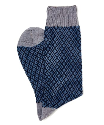 Diamond Knit Socks - Blue/Grey