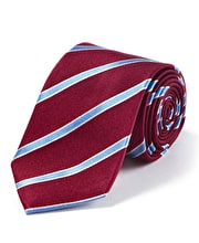 Burgundy/Blue Stripe Woven Silk Tie