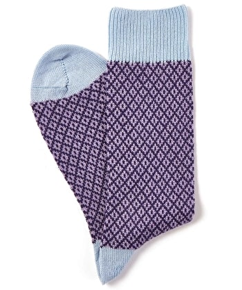 Diamond Knit Socks - Purple/Sky