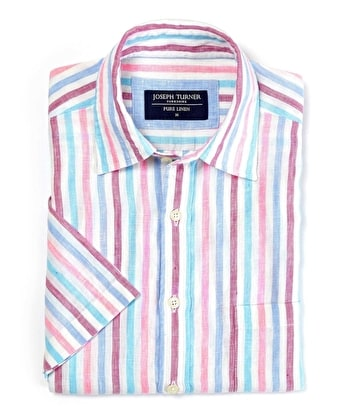 Linen Shirt - Short Sleeve - Pink/Blue Stripe