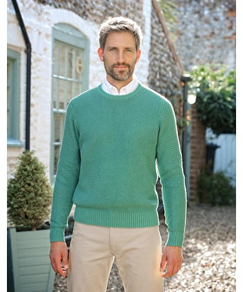 Textured Cotton Crew Neck Jumper - Green
