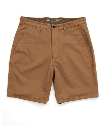 Cotton Twill Shorts - Flat Front - Tan