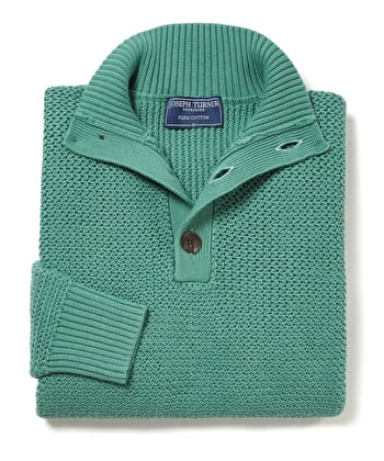 Textured Cotton Button Neck Jumper - Green