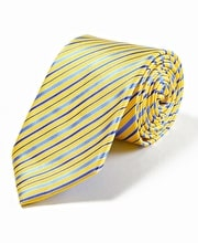 Yellow/Blue Stripe Woven Silk Tie