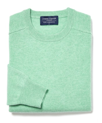 Lambswool Jumper - Crew Neck - Pastel Green