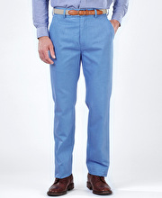 Flat Front Chinos - Mid Blue