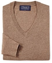 Wool/Cashmere Jumper - V Neck - Brown