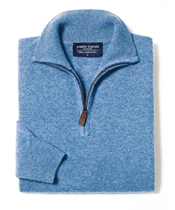 Lambswool Jumper - Half Zip - Blue