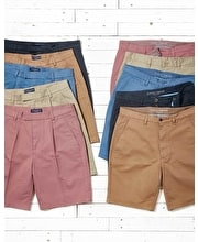 Cotton Twill Shorts - Flat Front - Washed Red