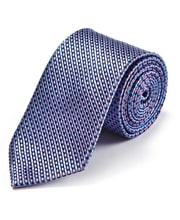Pink/Blue Chequers Woven Silk Tie